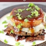 pin image with text overlay BBQ Burger with Bacon Weave and Smoked Gouda Grit Cake