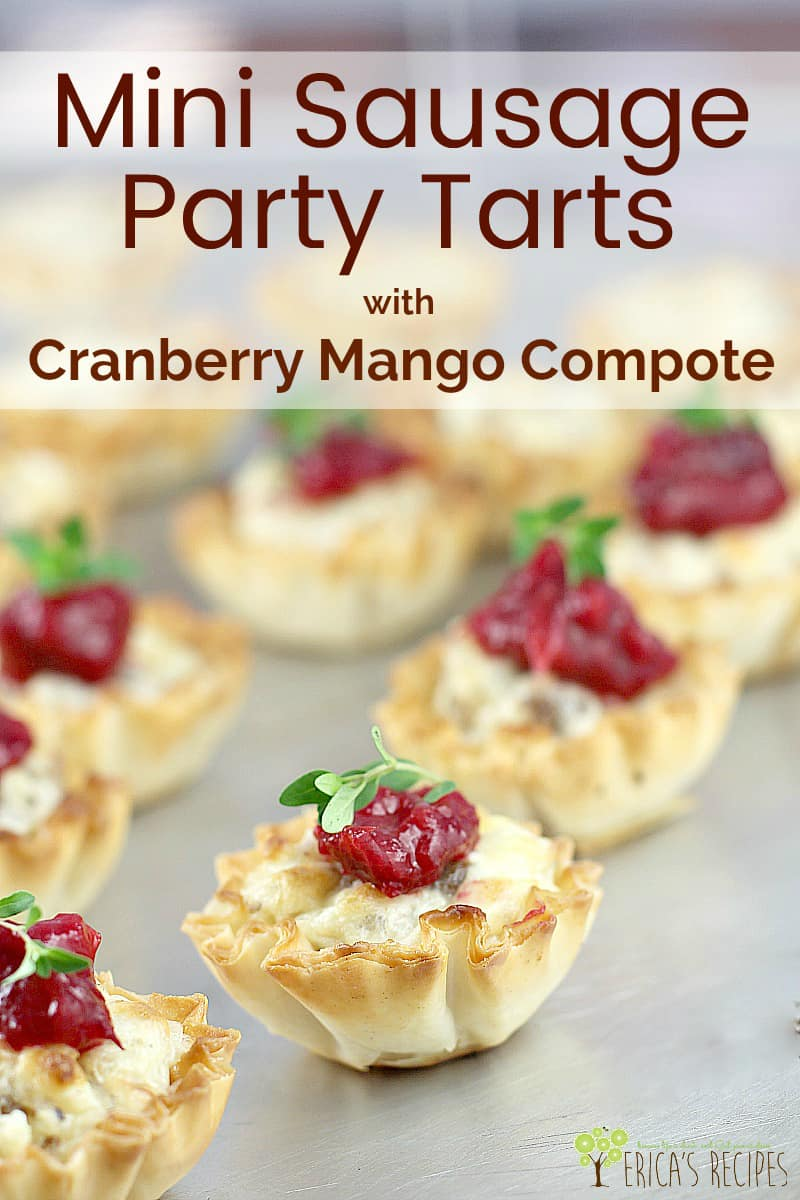 Mini Sausage Party Tarts with Cranberry Mango Compote #recipe #appetizer #partyfood #food