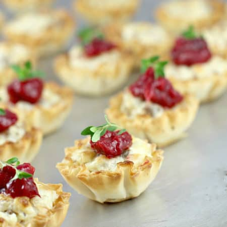 Mini Sausage Party Tarts with Cranberry Mango Compote