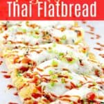 pin image with text Spicy Vegetable Thai Flatbread