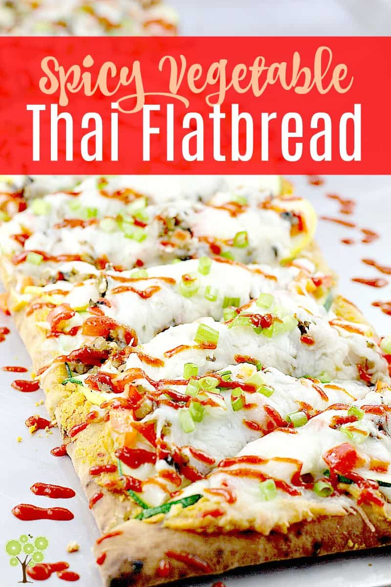 Crispy flatbread loaded with veggies and Thai flavor, this surprising Thai pizza will wow your crowd and keep you sane because it is so easy to make. Vegetarian, light and pretty, Spicy Vegetable Thai Flatbread is full of flavor. #food #thai #recipe #pizza #cheese #flatbread #gourmet #easyrecipe #spicy