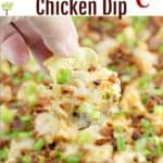 pin image with text overlay recipe title Buffalo Bacon Chicken Dip