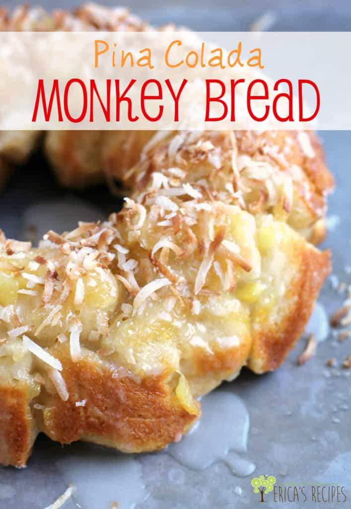 Pina Colada Monkey Bread is a FUN sweet treat that will make everyone go YUM! #dessert #partyfood #pinacolada #biscuits #coconut
