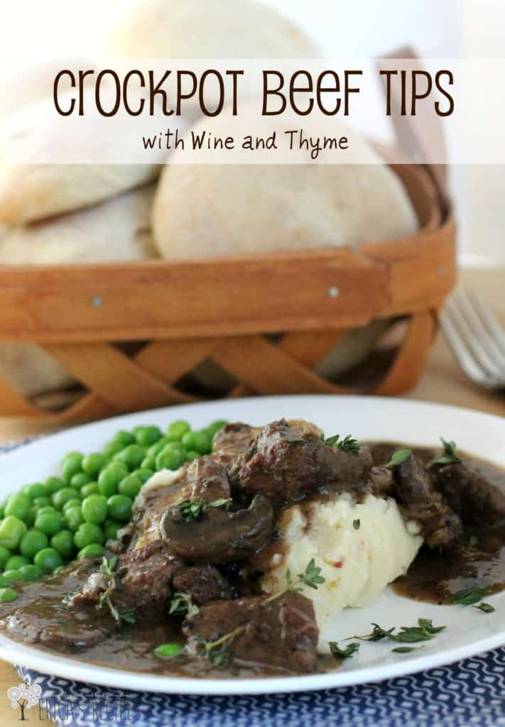 Crockpot Beef Tips with Wine and Thyme. are succulent beef tips with mushrooms and thyme. Slow cooked in broth and red wine. Simple. Classic. #slowcooker #beeftips #crockpot #dinnerrecipe