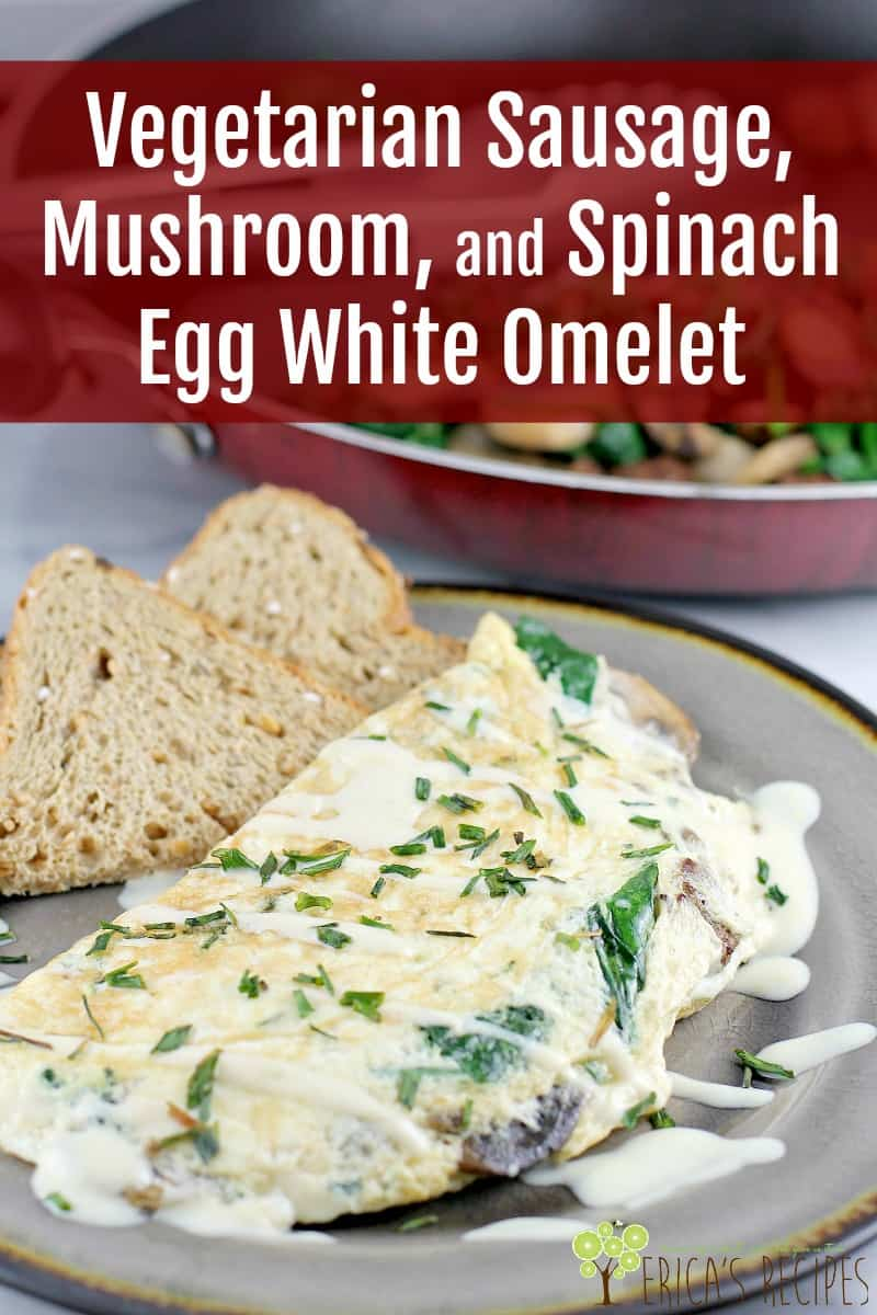 This healthier egg white omelet with vegetarian sausage, spinach, and mushroom, will satisfy you breakfast, lunch or dinner. #ad #VeggieNewYear #MorningStarFarms #vegetarian #omelet #recipe #vegetariansausage #veggiesausage