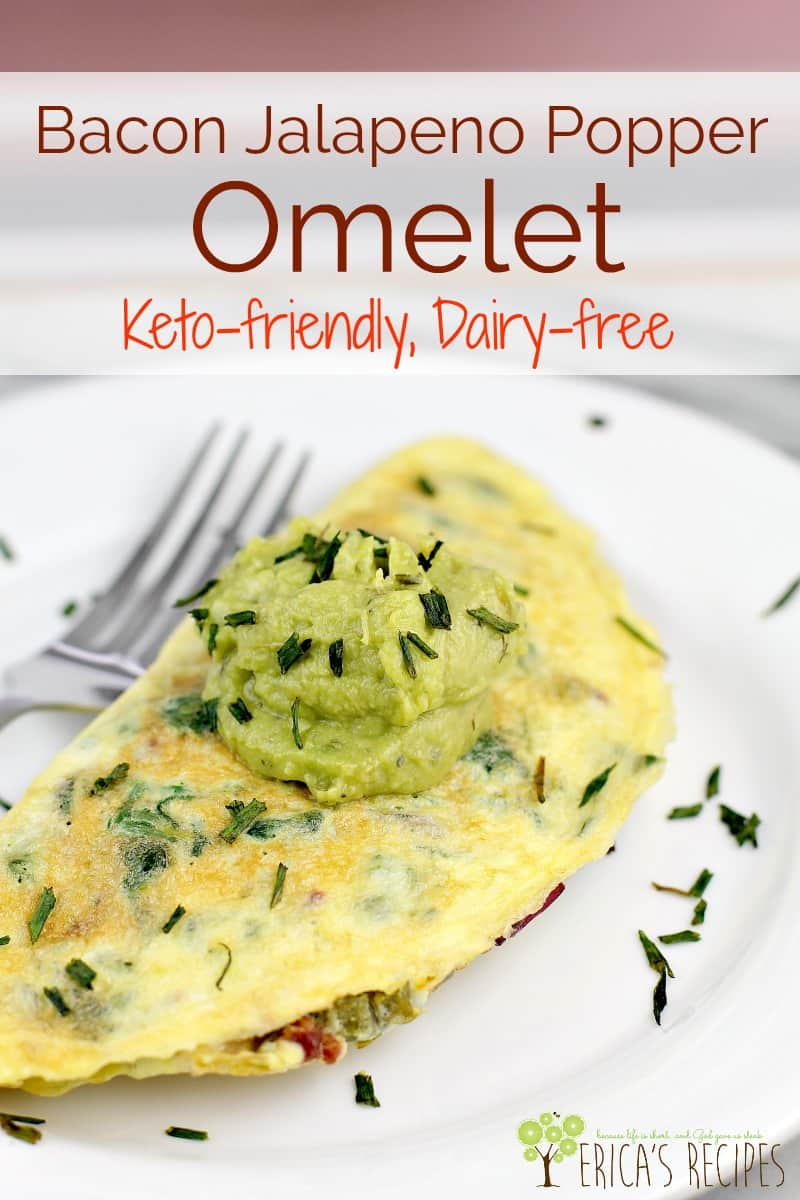 This satisfying, dairy-free Bacon Jalapeno Popper Omelet is loaded with healthy greens, satiating fat, and protein. If you looking for a low carb or keto breakfast option, this recipe is a must-try. #keto #ketobreakfast #jalapenopopper #bacon #recipes #food #lowcarb #healthyrecipe #dairyfree #glutenfree