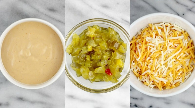 collage showing top views of more quesadilla ingredients, each in its own bowl: burger sauce, chopped pickle, and cheddar-mozzarella mixture