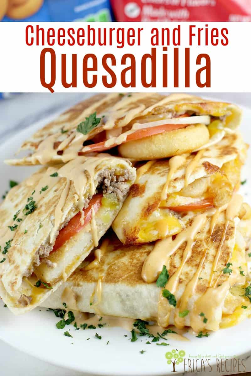 Cheeseburger and Fries Quesadilla! Ground beef, pickle, onion, tomato, french fries and plenty of cheese served in a toasty quesadilla tortilla and finished with homemade burger sauce. #MyMcCainPotatoes #Ad #McCainPotatoes #burger #recipe #frenchfries #quesadilla #funfood #footballfood #partyideas