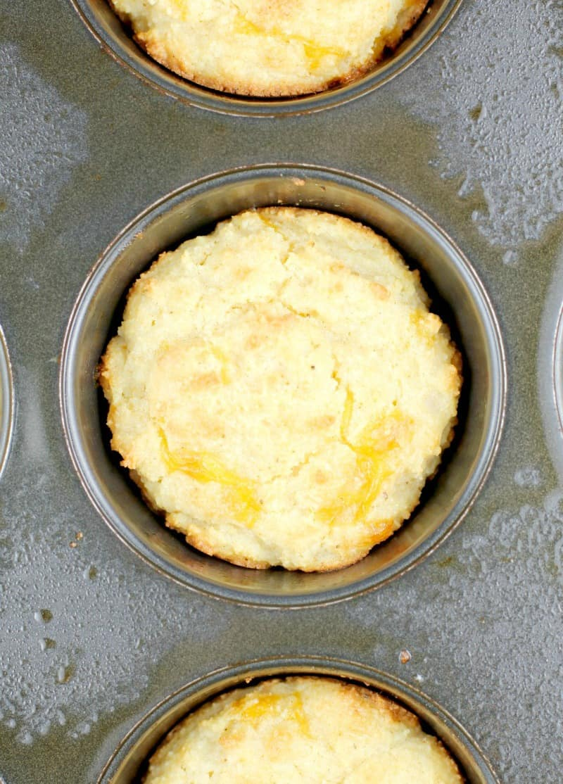 downward view of cooked biscuit in muffin tin