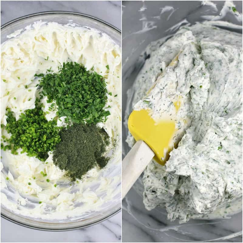 collage of 2 photos: herbs added to cream cheese; mixed filling