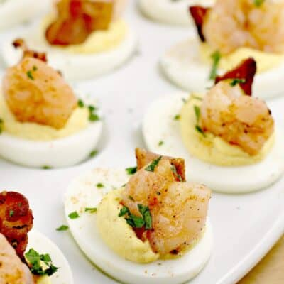 Creole Shrimp Deviled Eggs with Bacon