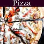 image for pinterest of finished recipe with text overlay French Onion Pizza