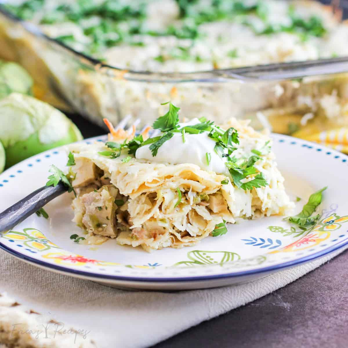 Salsa Verde Chicken Stacked Enchiladas
