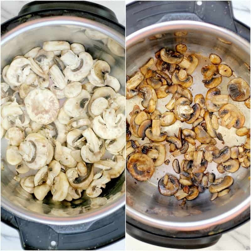 collage of 2 photos showing browning the mushrooms: left, raw mushrooms; right, browned mushrooms for the pressure cooker pot roast