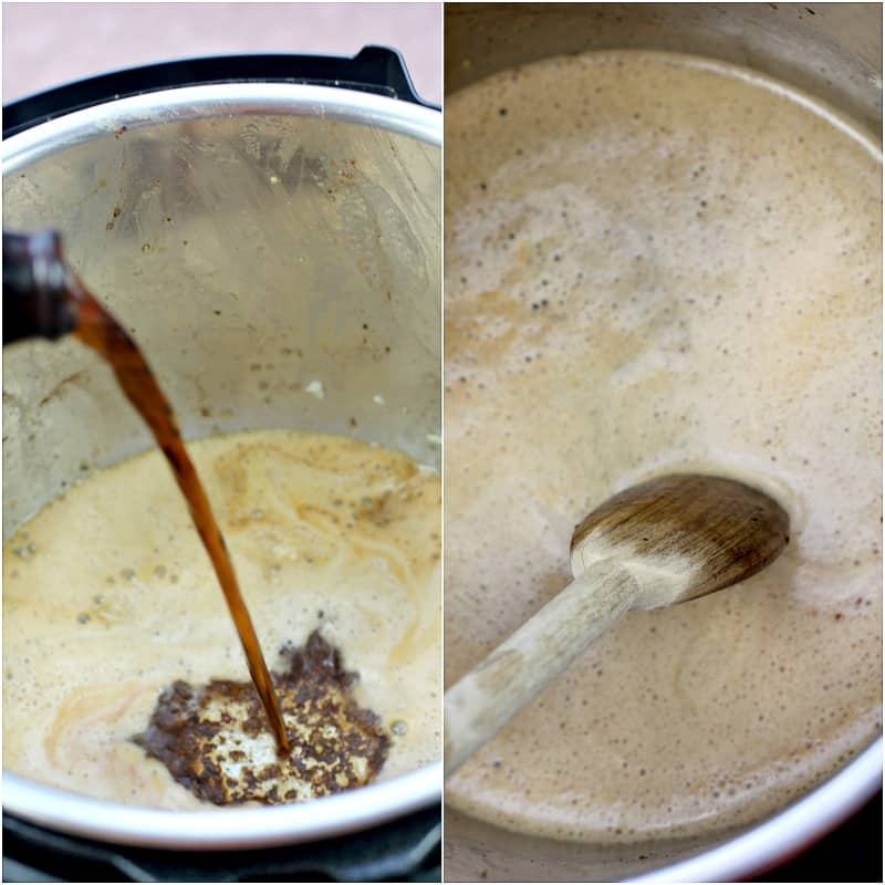 collage of two photos showing deglazing the pot: left, pouring in the beer; right, using a wooden spoon to scrape up the bits