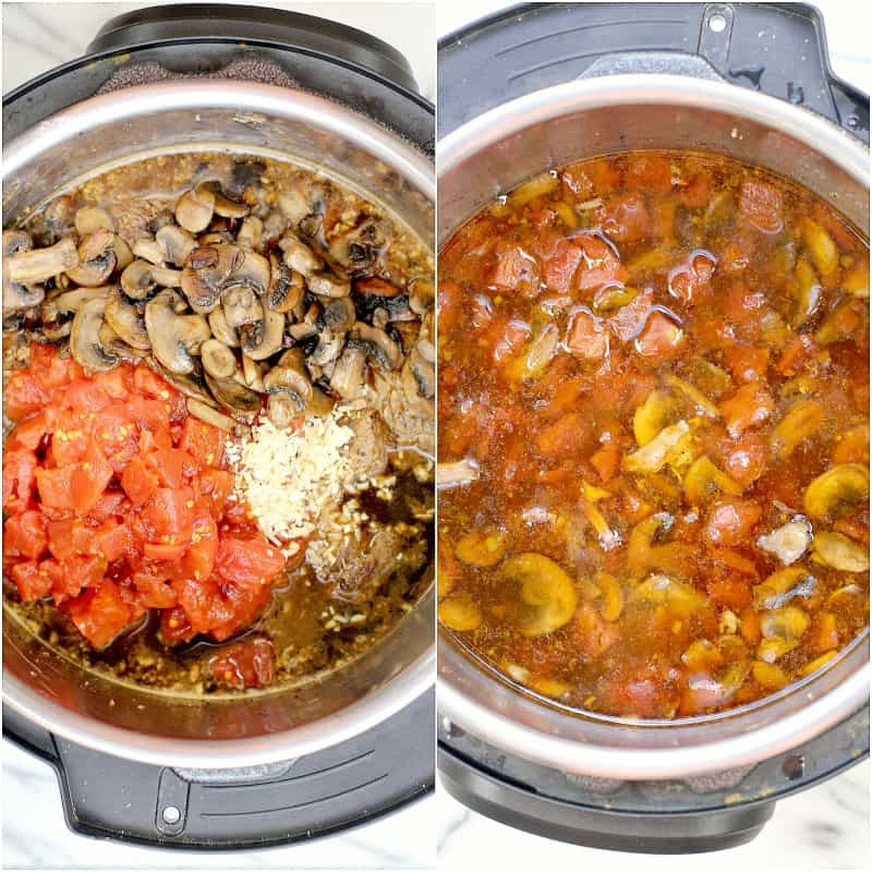 collage of 2 photos: left, tomatoes, mushrooms, and garlic added over the roast with beer; right, all of the ingredients after cooking submerged in the beer gravy