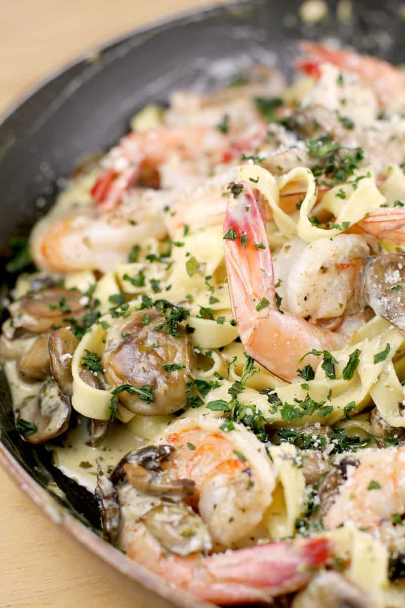 finished pesto shrimp pasta in a large nonstick skillet
