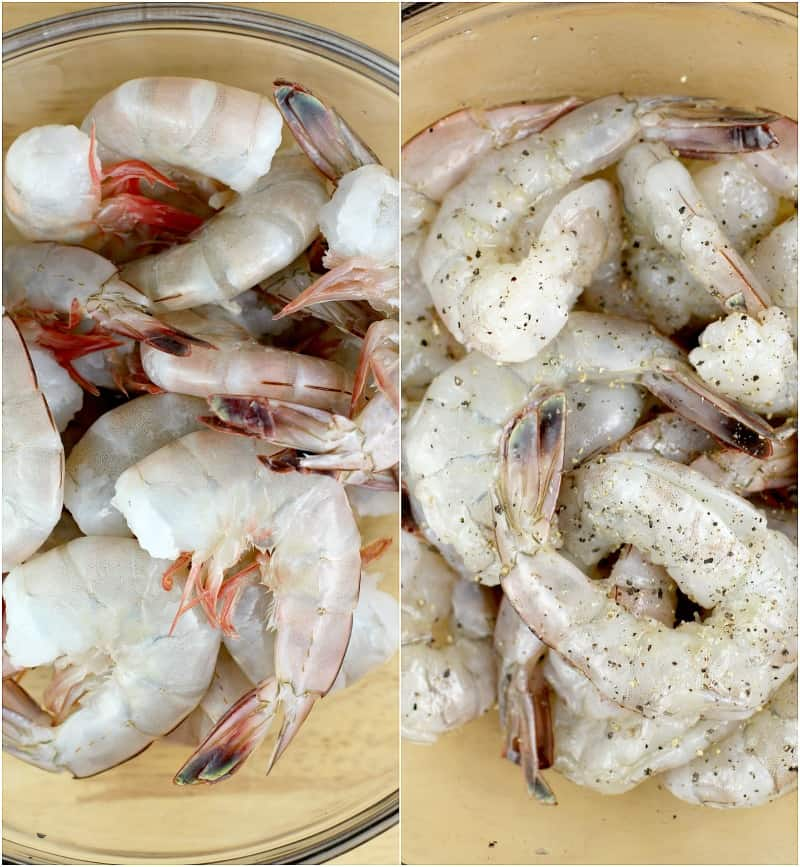 collage of the shrimp. Fresh and whole on the left; peeled and deveined on the right. In a glass bowl on both sides.