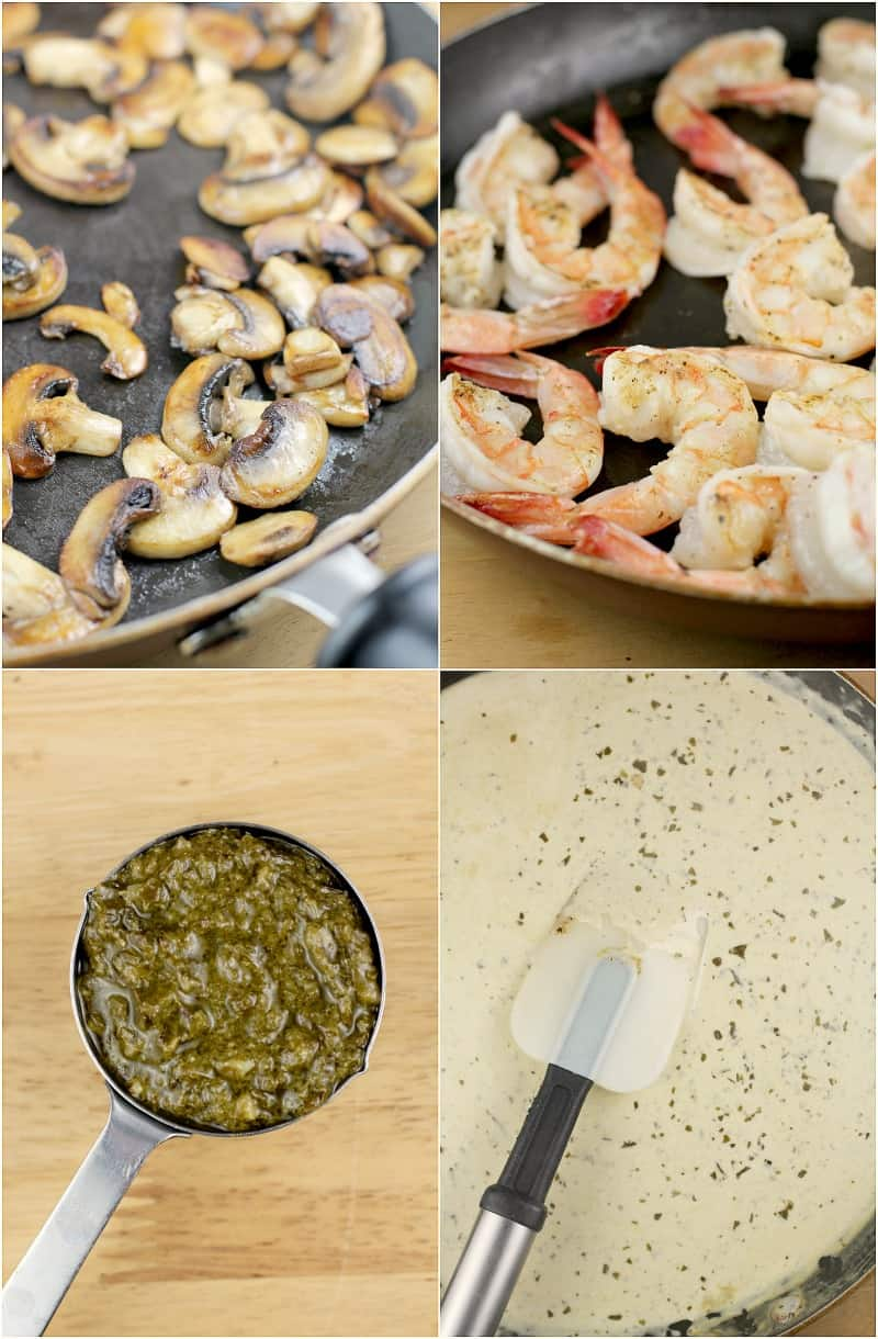 Collage of 4 photos to show steps: mushrooms sauteed in a black skillet; shrimp cooked in the same skillet; measuring cup filled with pesto on a wood board; finished creamy pesto sauce in a skillet with a spatula