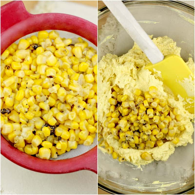 collage of 2 photos: corn in a strainer on the left; corn added to the egg yolk mixture on the right
