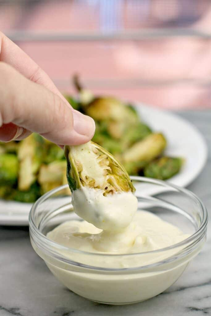 brussels sprout dipped in aioli