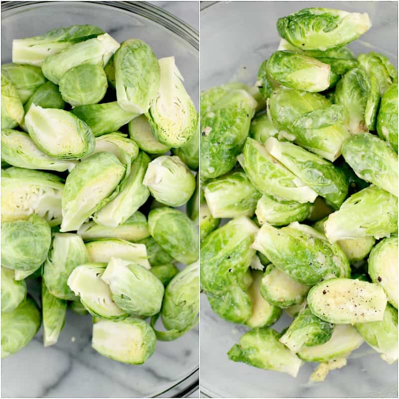 collage of 2 photos: left, sprouts in bowl; right, sprouts in bowl coated in vinaigrette