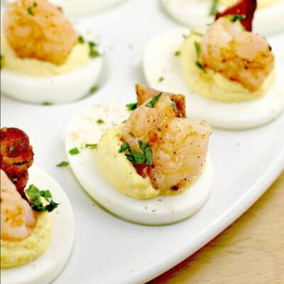close view of a finished deviled egg
