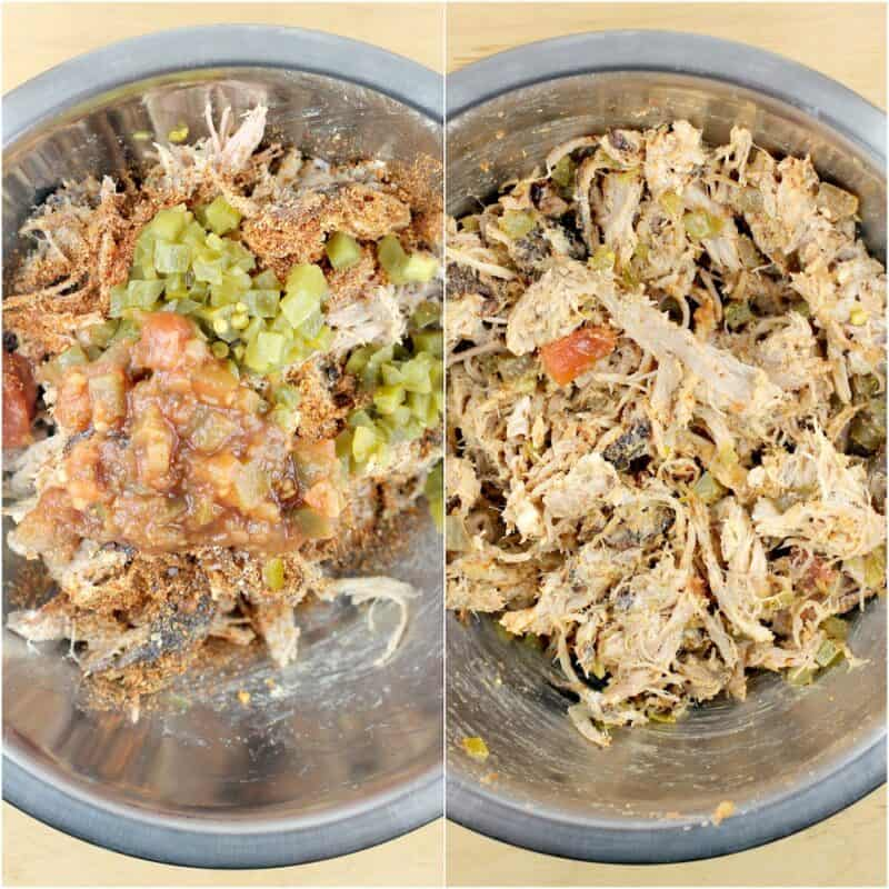 collage of 2 photos: left, the ingredients in a bowl; right, the ingredients combined