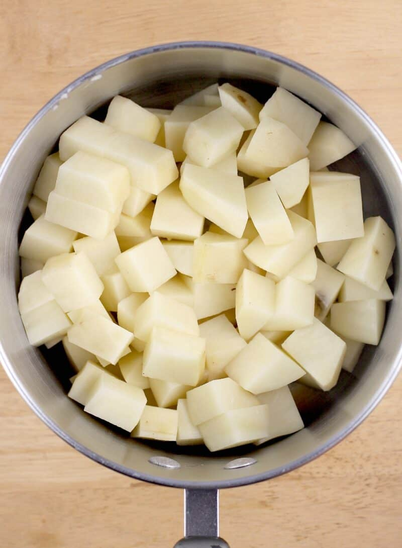 diced potato in a pot