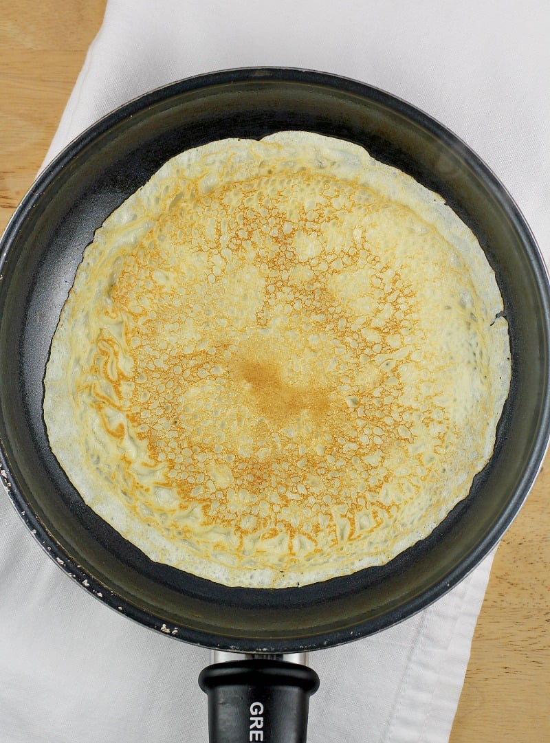 cooked crepe in a pan