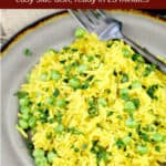 image for pinterest with text overlay Simple Rice with Turmeric and Peas