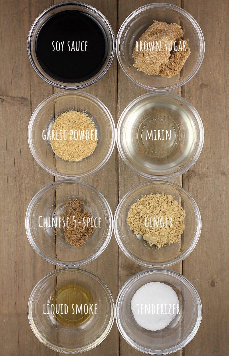 ingredients for teriyaki marinade in glass bowls