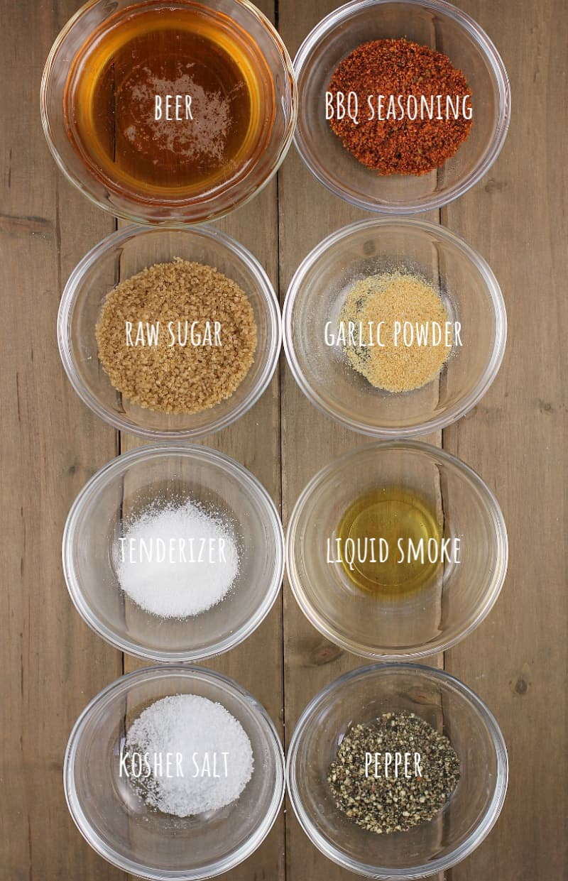 ingredients for beer bbq marinade in glass bowls