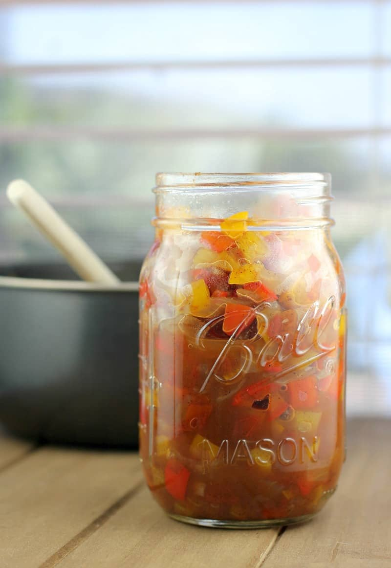 Jamaican sweet pepper relish in a mason jar