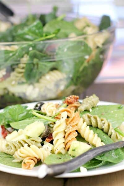 rotini pasta salad on spinach, plated on white plate, salad bowl in the background