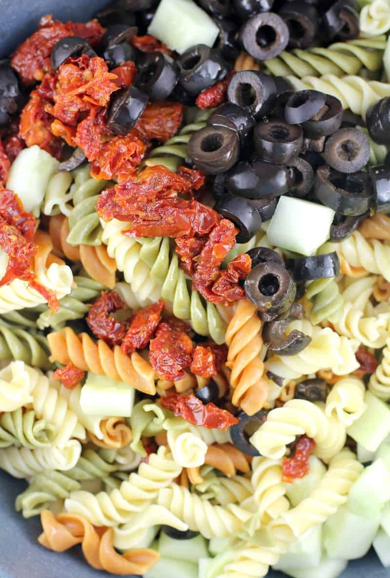 ingredients for rotini salad in a bowl