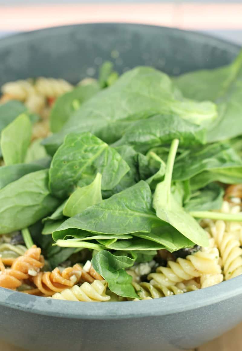 spinach sitting on pasta salad