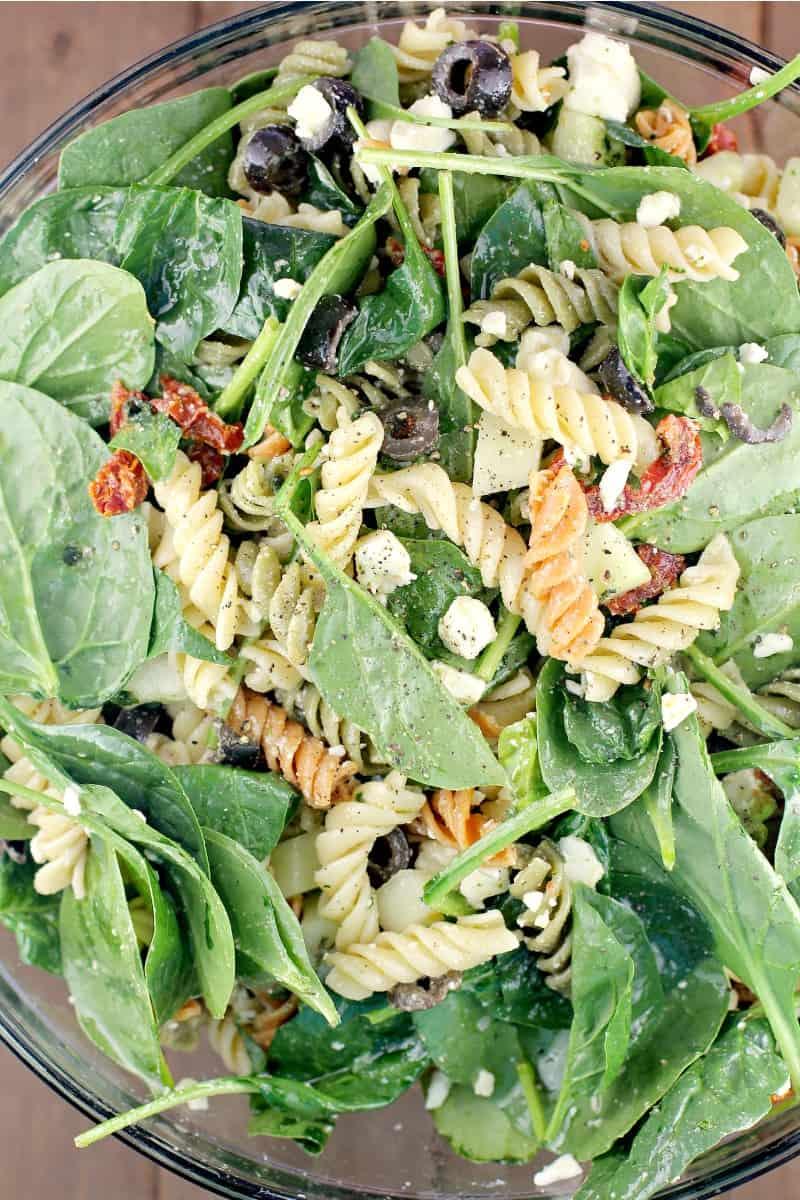 top view of pasta salad rotini