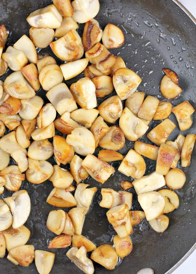 browned mushrooms in skillet
