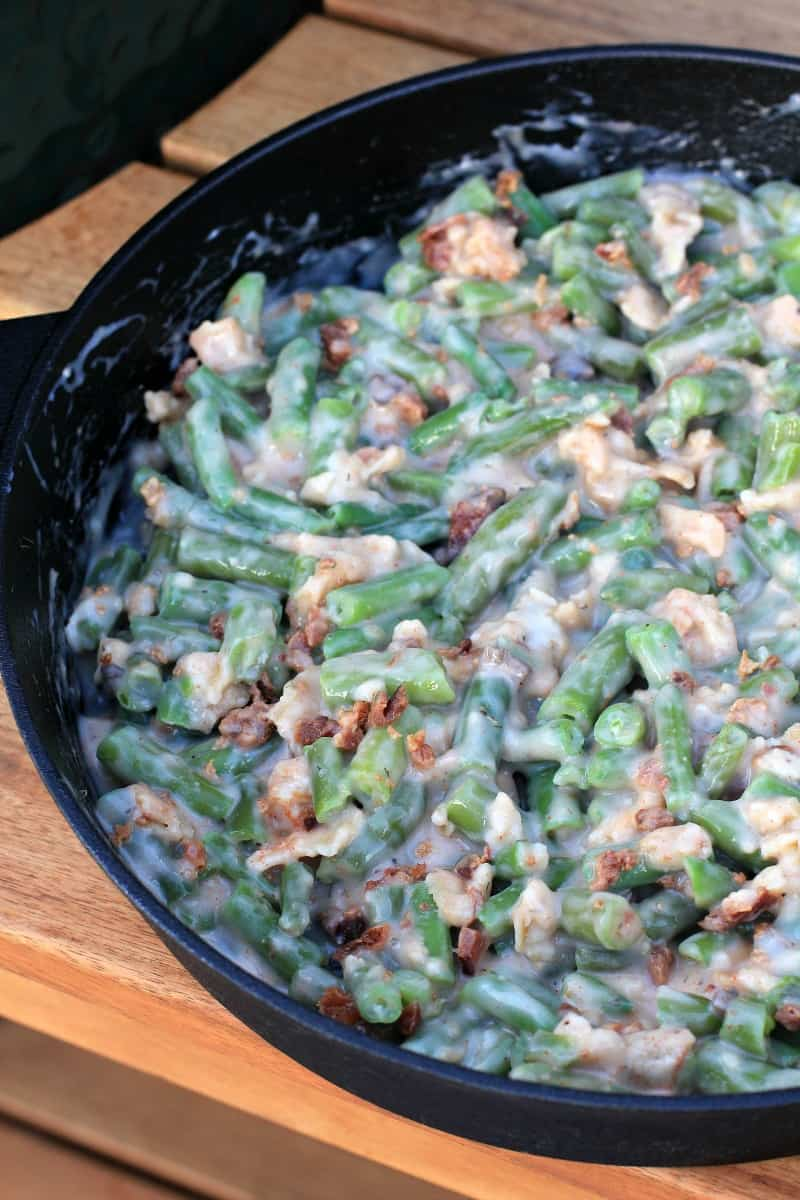 casserole in cast iron skillet prior to cooking