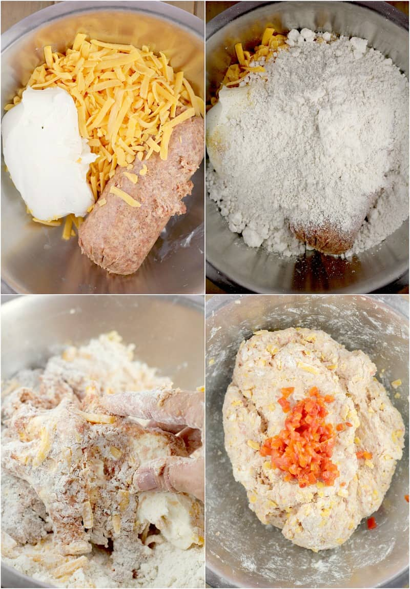 collage of 4 photos: ingredients in a mixing bowl; bisquik added; hand mixing the ingredients; fully mixed sausage ball dough