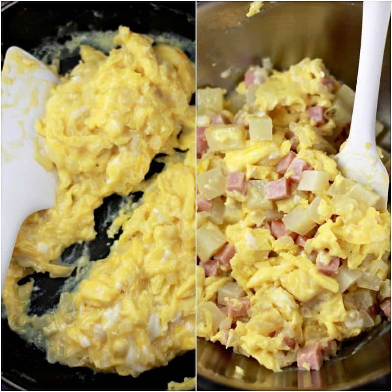 collage of 2 photos: left, scrambled egg and onion with white spatula; right, ham and potato added to the egg
