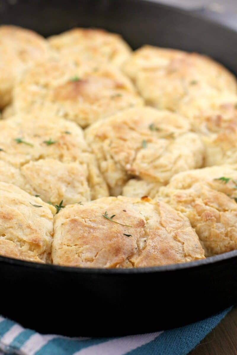 grilled biscuits in a cast iron pan