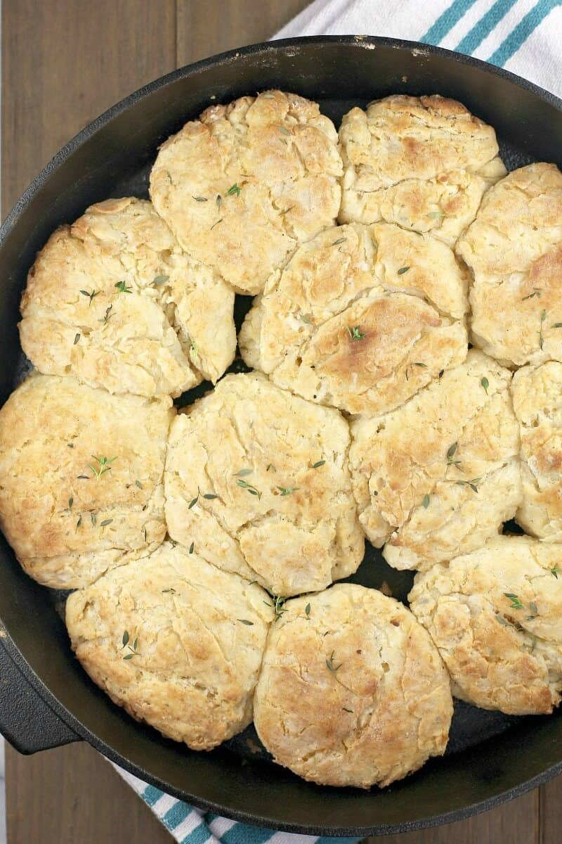 top down view into a pan with golden cooked biscuits