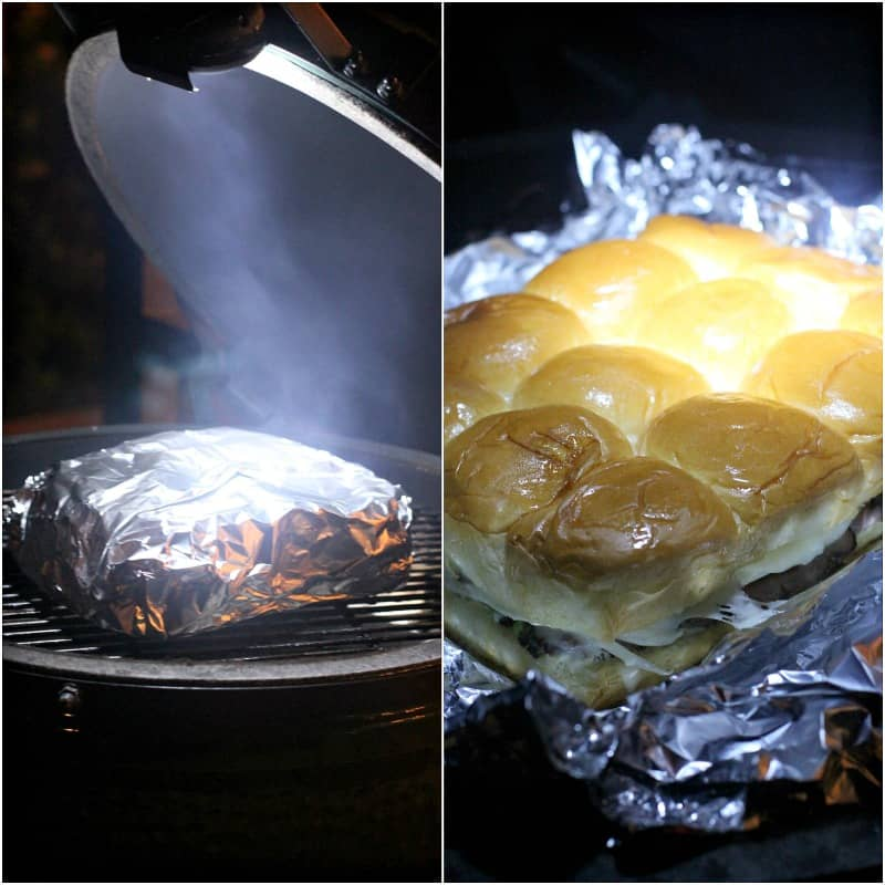 collage of 2 photos: left, foil packet ion big green egg surrounded by smoke; right, opened foil on grill showing sliders cooking
