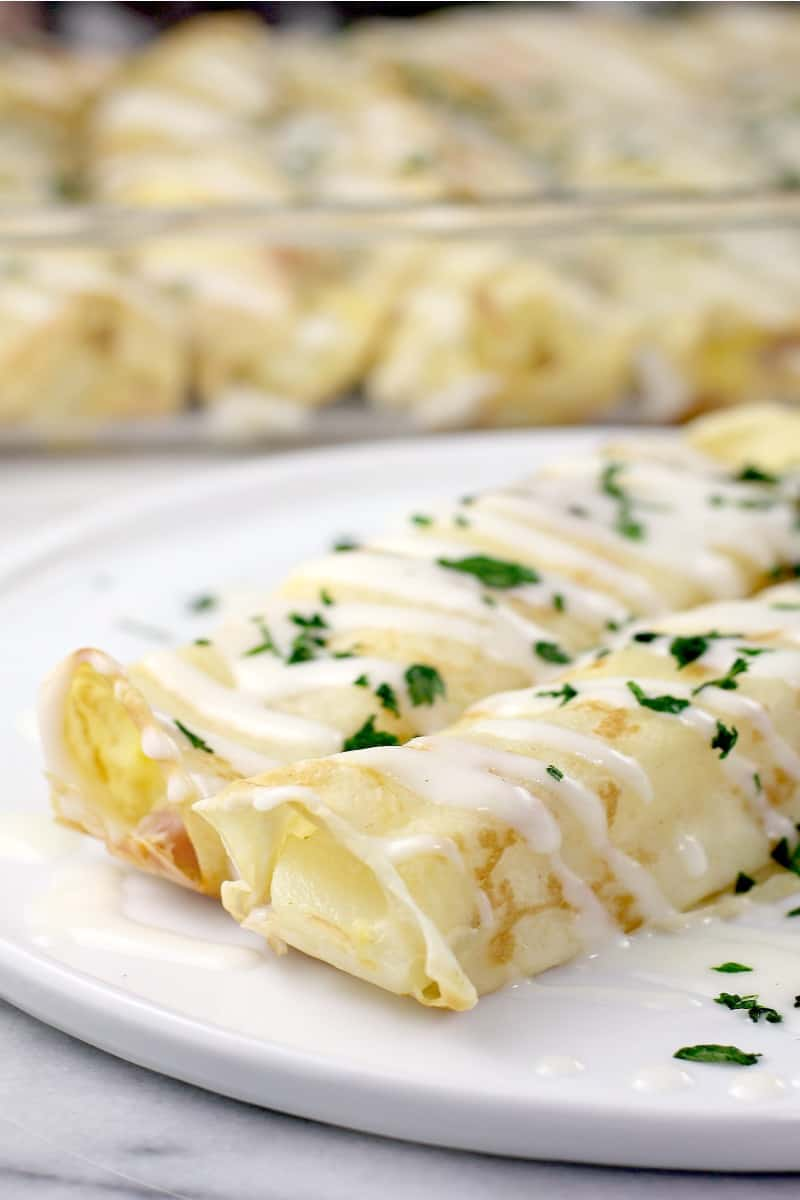 Ham and Cheese Breakfast Crepes with Béchamel