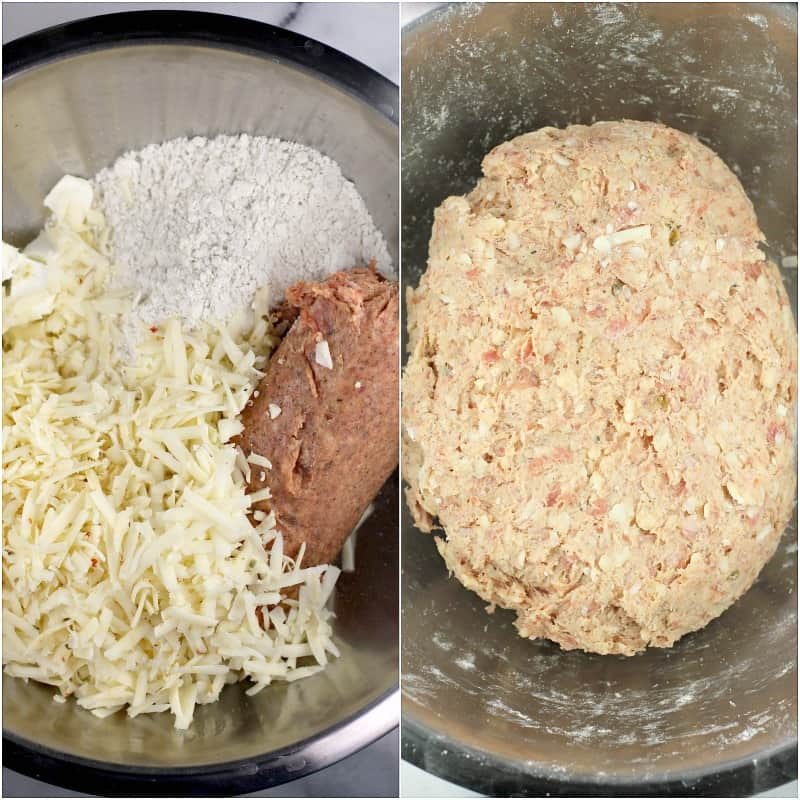 collage of 2 photos: left, dough ingredients in metal bowl; right, mixed dough
