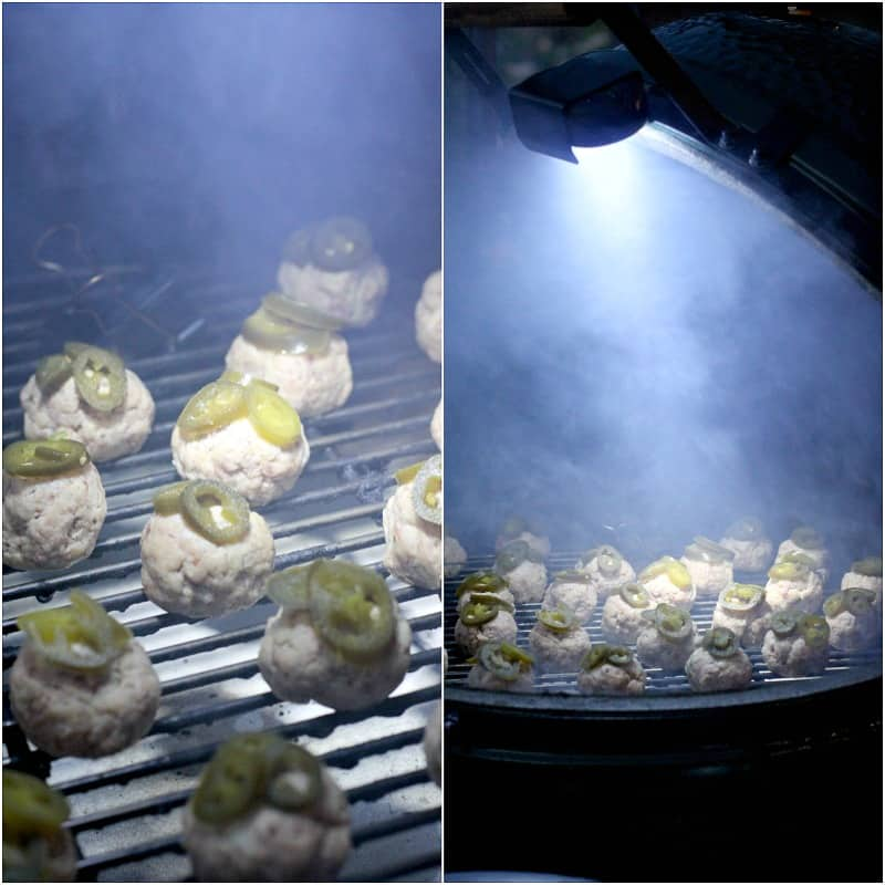 collage of 2 photos: left, sausage balls on grill grate in Big Green Egg; right, pulled out view of Big Green Egg with smoke all around the cooking sausage balls