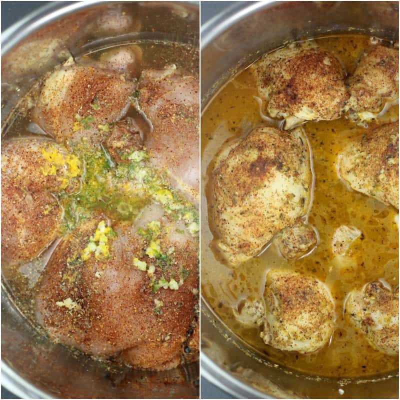 collage of 2 photos: left, uncooked chicken thighs in Instant Pot; right, cooked chicken thighs