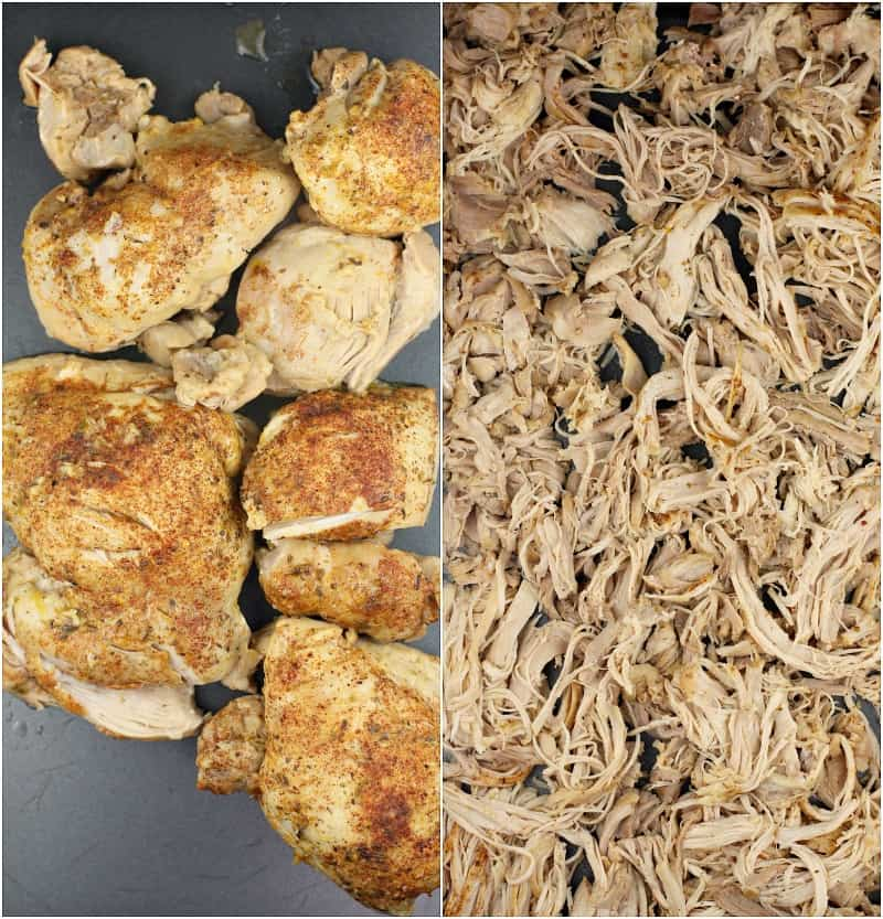 collage of 2 photos: left; cooked chicken before shredding; right, shredded chicken